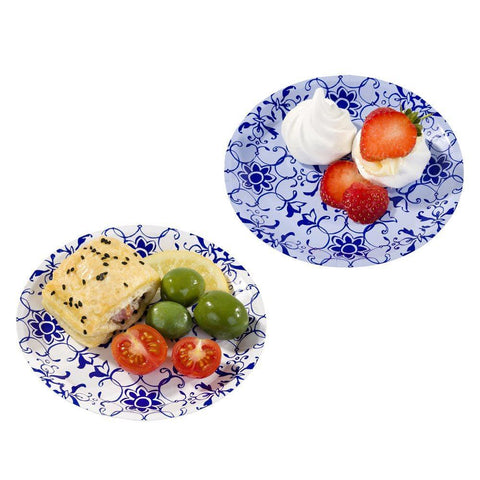 Party Porcelain Blue Canape Plates-Jubilee Favors