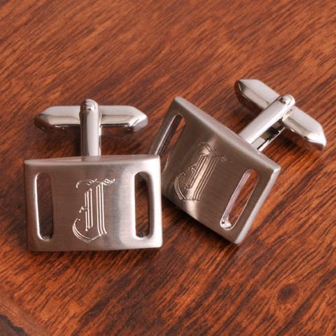 Personalized Marlon Brushed Silver Cufflinks-Jubilee Favors