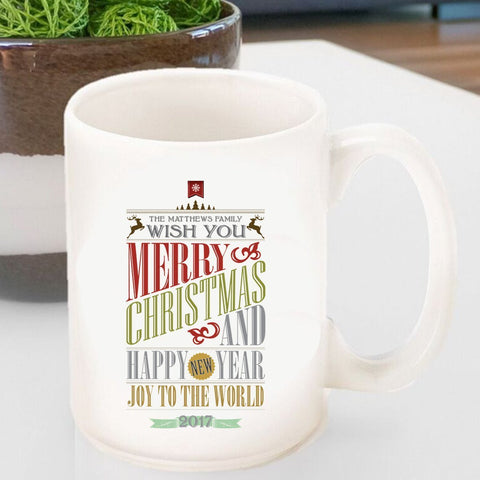Personalized Vintage Holiday Coffee Mug - Christmas Words-Jubilee Favors
