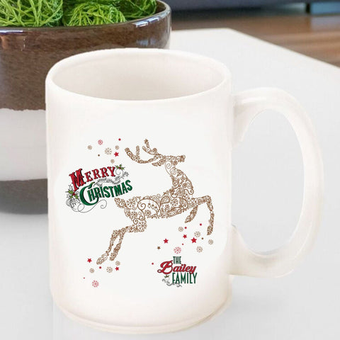 Personalized Vintage Holiday Coffee Mug - Vintage Reindeer-Jubilee Favors