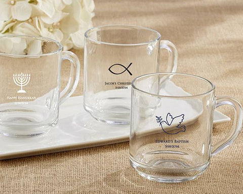 """Rise and Shine"" Glass Coffee Mug - Religious-Jubilee Favors"