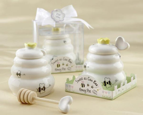 """Sweet As Can Bee"" Ceramic Honey Pot with Wooden Dipper-Jubilee Favors"