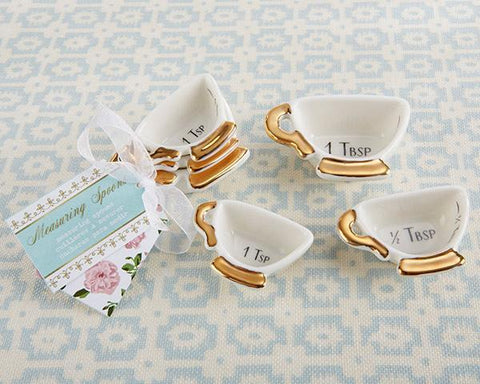 Tea Time Whimsy Ceramic Teacup Measuring Spoons-Jubilee Favors
