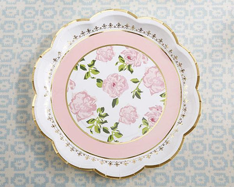 Tea Time Whimsy Paper Plates - Pink (Set of 8)-Jubilee Favors