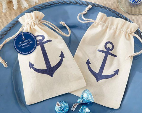 """Voyages"" Anchor Muslin Favor Bag (Set of 12)-Jubilee Favors"