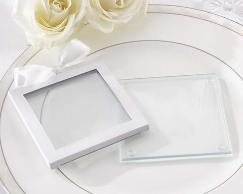 White Glass Coaster Gift Sleeve (Set of 12)-Jubilee Favors