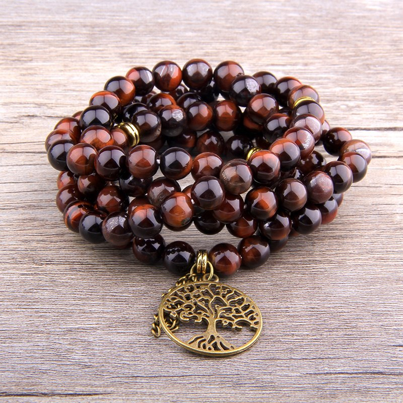 Grounded and Confident Red Tiger Eye Mala
