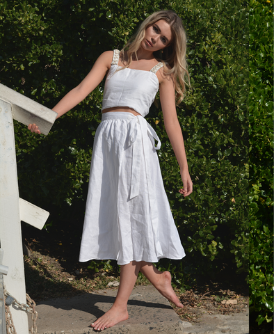 Talulah Wrap Skirt in Luxe Ivory Linen