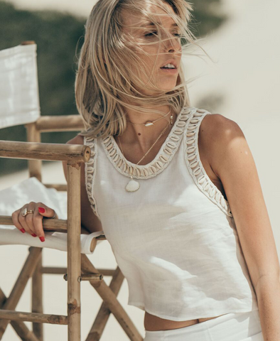 White Siren Shell Tank in Linen