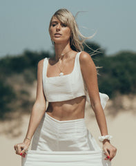 Monsoon Crop Top in Luxe Ivory Linen