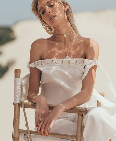 White Siren Off The Shoulder Top in Luxe Ivory Linen