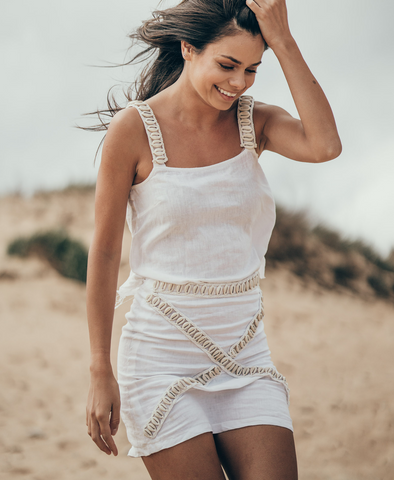 White Siren Venus Singlet Top in Linen