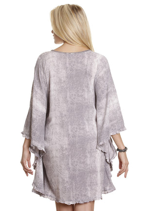 Poncho dress, snake skin print & beads - FrejaDesigns