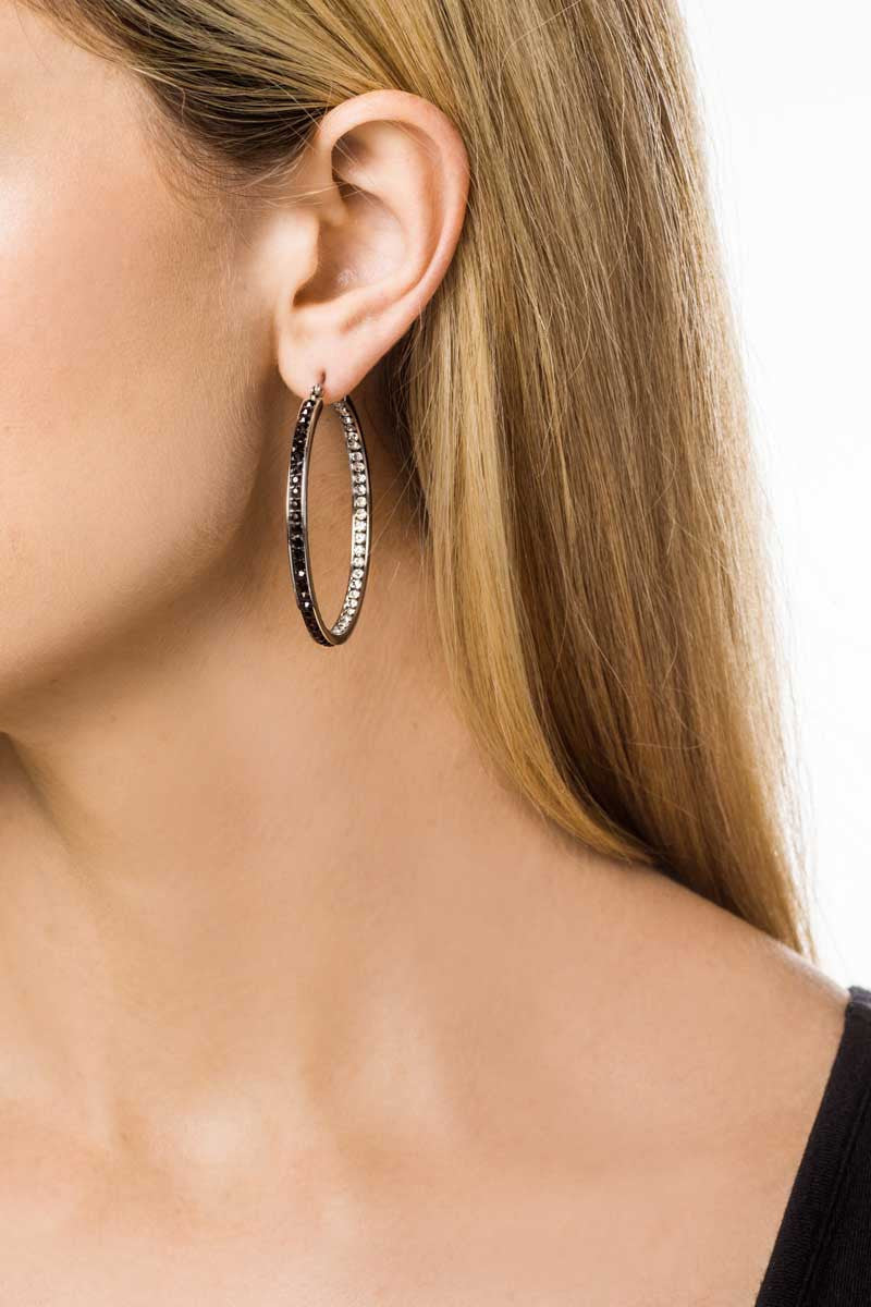 Hoop Earrings: Zirconia (Clear/Black-4.5) - FrejaDesigns