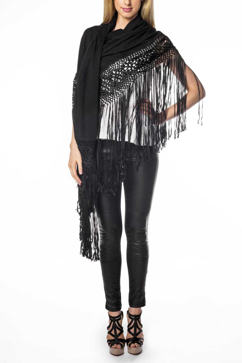 Silk/Cashmere Wrap (Black) - FrejaDesigns