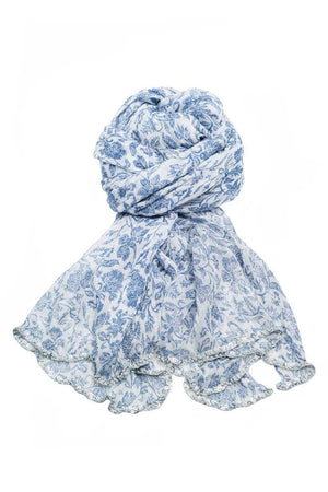 Silk Scarf Floral (Blue) - FrejaDesigns