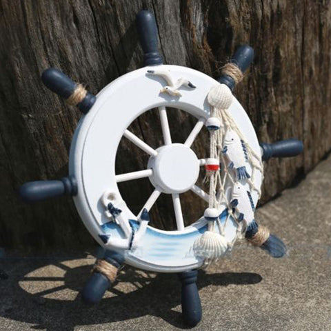 Wooden Boat Ship Fisherman Steering Wheel Nautical Wall Piece - Thirsty Buyer - 1