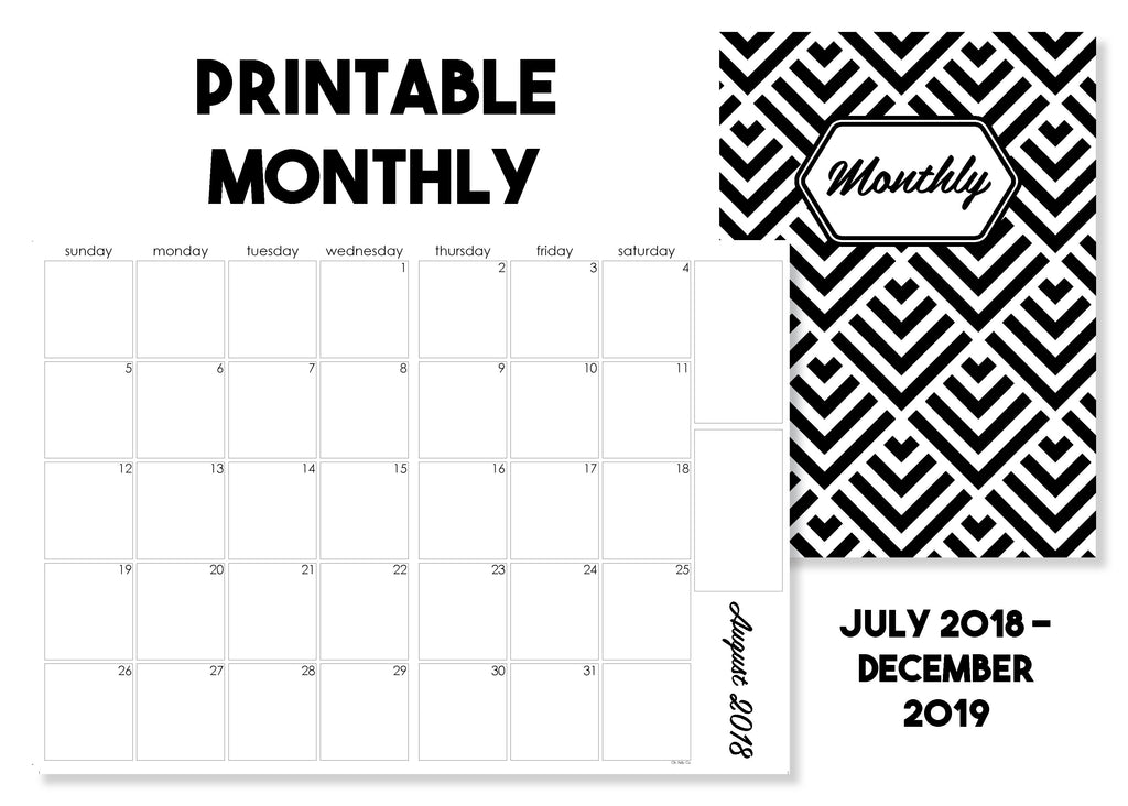 Printable Monthly Calendar Traveler's Notebook Insert - July 2018-December 2019