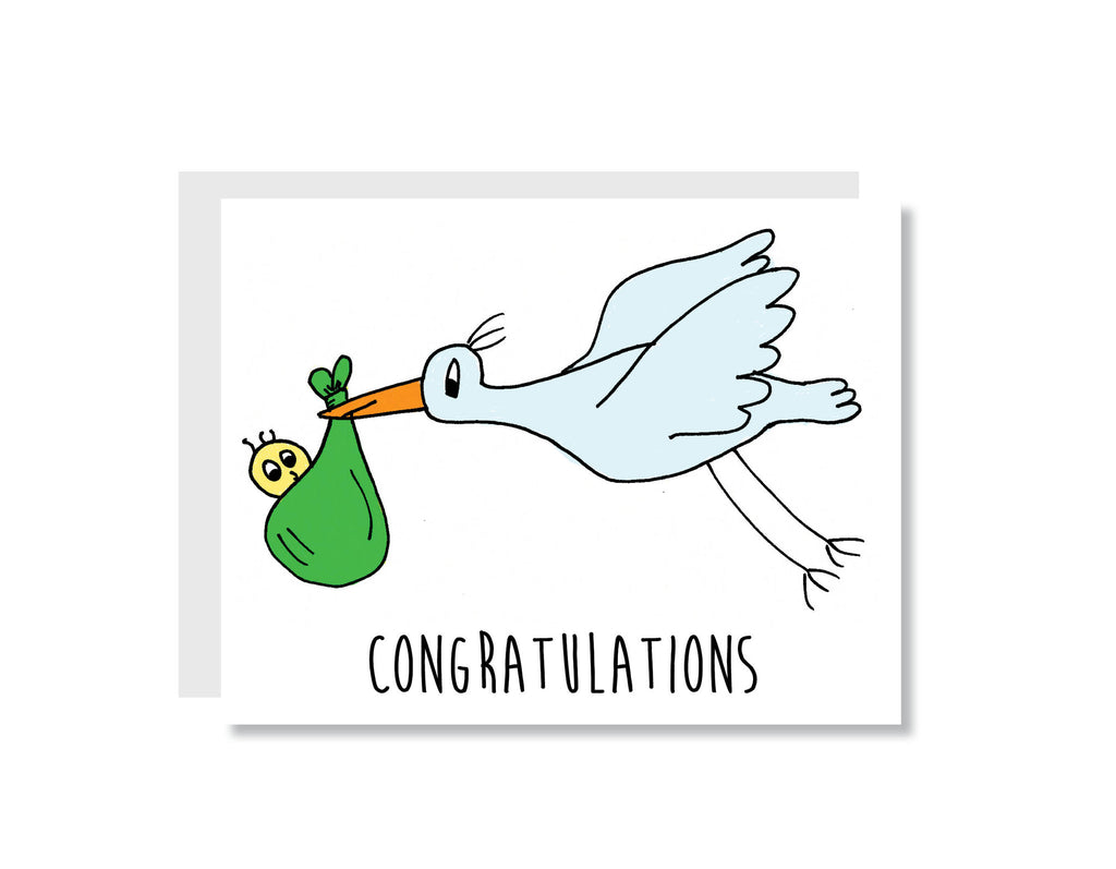 Congratulations Stork and Baby Greeting Card - CARD70 - Oh, Hello Stationery Co. bullet journal Erin Condren stickers scrapbook planner case customized gifts mugs Travlers Notebook unique fun