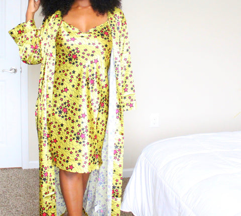 African Print Satin Nightgown - Nkeoma