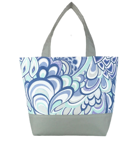Grey Swirled Paisley with  Light Grey Nylon Essential Tote Bag by Tutenago - The perfect women's oversized tote bag for work, beach, shopping or an everyday bag.