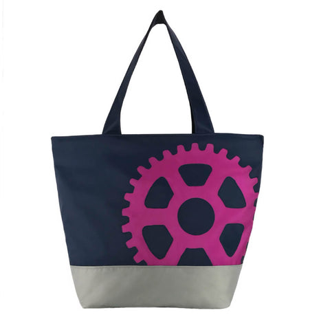 Navy Pink and Grey Nylon Essential Tote Bag for Women Engineers - Perfect Gift
