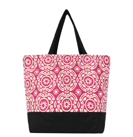 Pink Soleil with Black Waterproof Nylon Ready-To-Ship Essential Tote Bag by Tutenago - The perfect women's oversized tote bag for work, beach, shopping or an everyday bag.