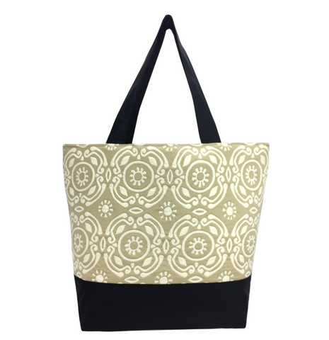 Tan Soliel with Waterproof Black Nylon Ready-To-Ship Essential Tote Bag by Tutenago - The perfect women's oversized tote bag for work, beach, shopping or an everyday bag.
