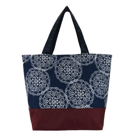 Tutenago Navy Dands Essential Tote Bag with Burgundy Waterproof Nylon