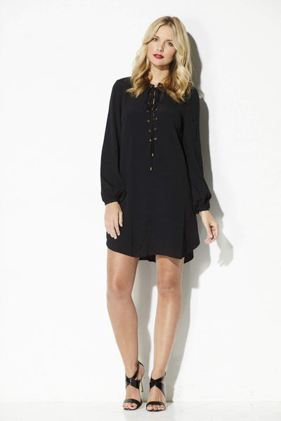 Black Long Sleeve Lace Up Dress
