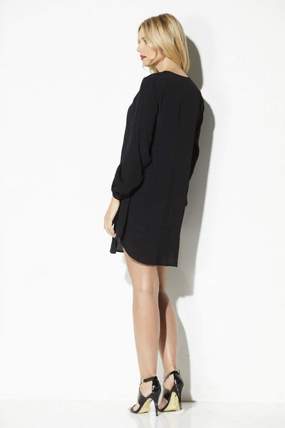 Black Swan - Black Long Sleeve Lace Up Dress - rear