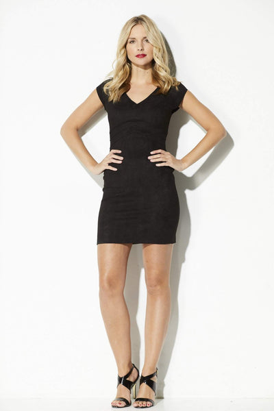 Black Suede Bodycon Dress