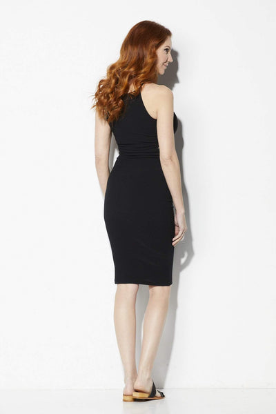 Bishop + Young Black Cutout Ribbed Midi Dress - Back View