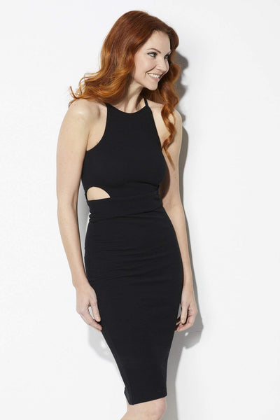 Bishop + Young Black Cutout Ribbed Midi Dress - Front View