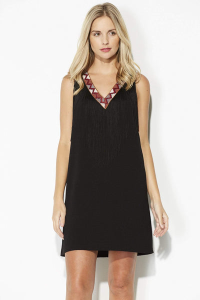 Black Aztec Fringe Dress