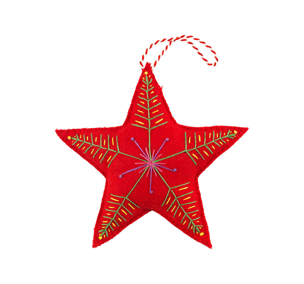 Handmade Christmas Star - Red Felt