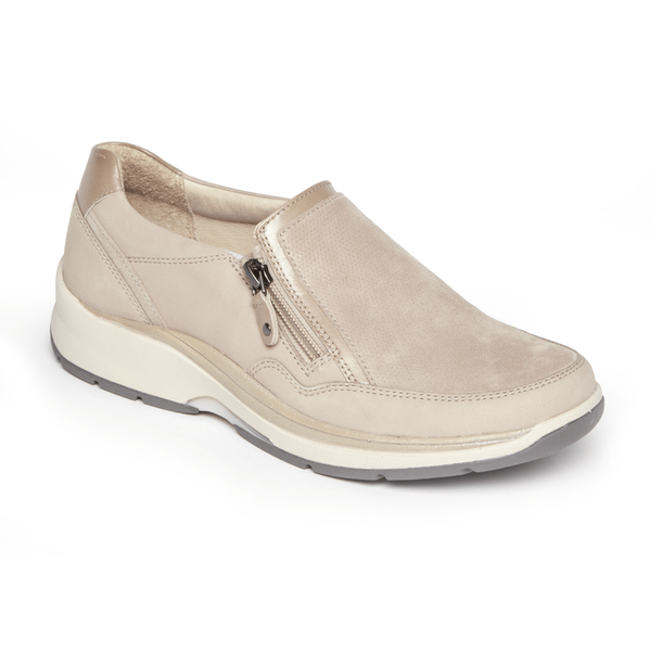 """ARAVON"" Women's Pyper Side Zip Slip On (Taupe)"