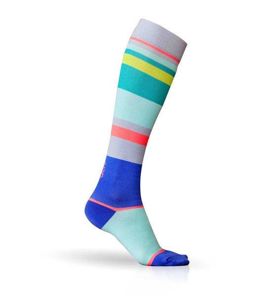 (ACHI) Performance Compression Sock, URBANE STRIPE 15-22 MMHG