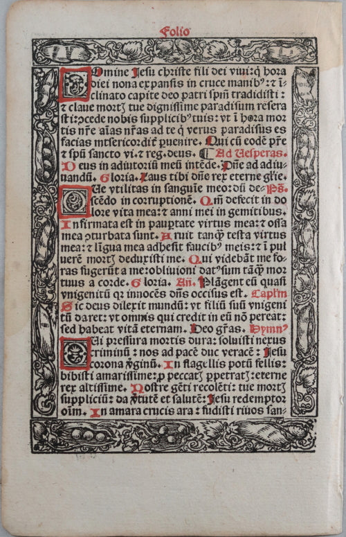 1519 page in latin from 'Hortulus anime cum horis beate virginis'