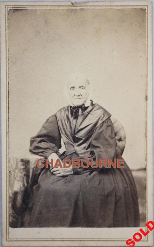 1864-66 Illinois calling card photo of seated old lady, with tax stamp