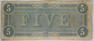 1864 Confederate States of America $5 Richmond Virginia
