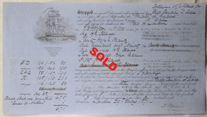 1871 maritime bill of lading, shipping claret from London to Sydney