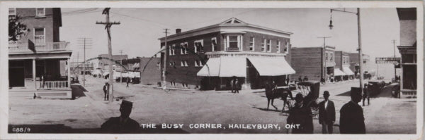 "1913 tiny bookmark postcard ""Busy Corner"" Haileybury Ontario"