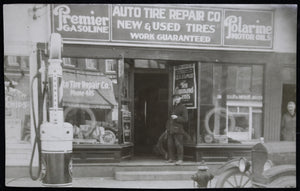 1924 RPPC with small town auto service station - ads!