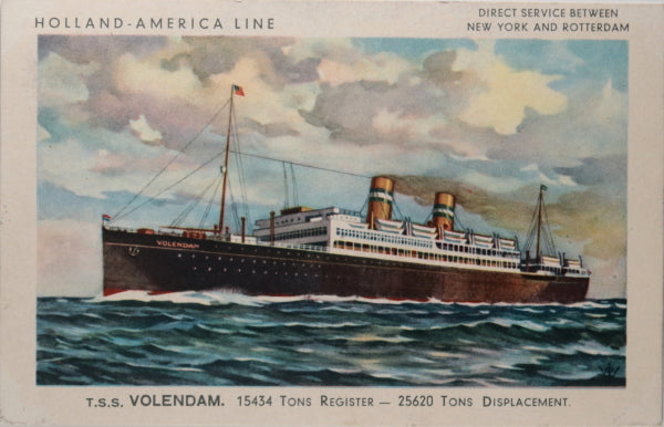 1938 two postcards with T.S.S. Volendam cruise ship