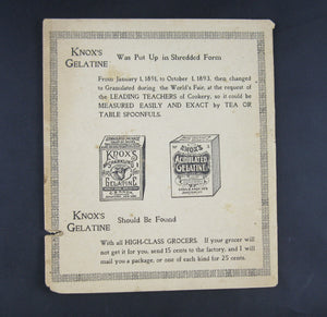 Knox's Sparkling Calves Foot Gelatine - advertising pamphlet with recipes Johnstown NY (1896)