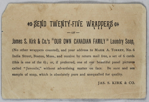 'Our own Canadian Family' Laundry Soap - Advertising trade Card (early 1900's)