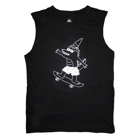 Alligator Skater Graphic Sleeveless Tee in Black - Ice Cream Castles Kids