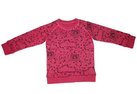 Mt. Mint Chip Cassette Repeat Print Pullover- Pink - Ice Cream Castles Kids