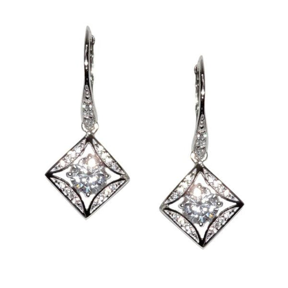 Square Solitaire Earrings